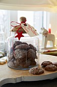 Chocolate biscuits in a jar for Christmas