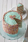 A layer cake with colourful sugar sprinkles for Valentine's Day