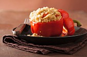 Red peppers filled with quinoa