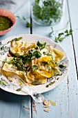 Goat's cheese rocket ravioli with lemon pesto