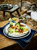 Tortilla with grilled chicken and guacamole