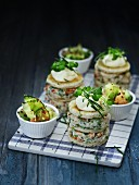 Stacks of shrimp salad sandwiches