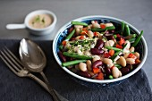 A mixed bean salad with a yogurt dressing