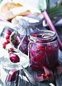 Rhubarb jam with strawberries