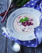 Vanilla soup with rhubarb