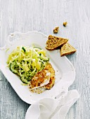 Chicken escalope with a cucumber and pineapple salad