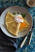Savoury crepes with egg