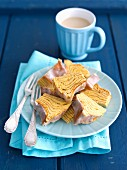 Baumkuchen (German layer cake) with coffee