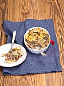 Pasta bake with sauerkraut and mushrooms