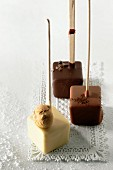 Chocolate cubes on sticks for hot chocolate