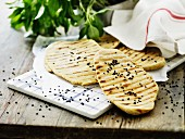 Grilled bread with black sesame seeds