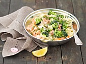 Tagliatelle with salmon, broccoli and cream sauce