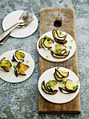 Aubergine parcels filled with cream cheese