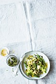 Tagliatelle with green asparagus and vinaigrette