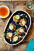 Fish cakes with cucumber and peanuts (Thailand)