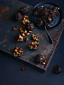 Date and clove dumplings with hazelnut brittle