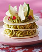 Mille Feuilles with avocado cream and white chocolate