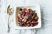 Beetroot salad with red grapes and daikon cress