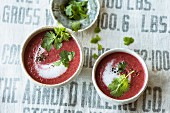Beetroot soup with coconut and fresh coriander