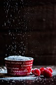 Chocolate pudding with icing sugar and raspberries