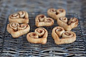 Cinnamon whirls in a heart shape