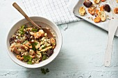 Quinoa salad with oven-roasted root vegetables