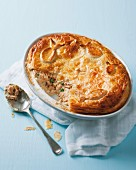Leek and salmon pie