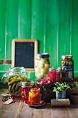 Jars of preserved vegetables