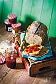 Homemade sourdough bread with strawberry jam