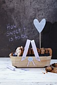 Cookies in a wooden basket as a gift
