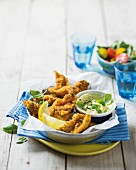 Breaded and fried squid with basil aioli