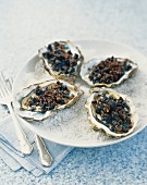 Oysters Kill Bill (oven-baked oysters with black pudding crumble)