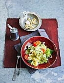 Pasta with Savoy cabbage, feta and moringa