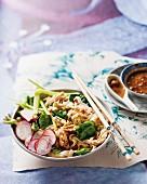 Bang-bang chicken with rice noodles, spinach and radishes (China)