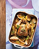 Oven roasted chicken with Mirin, limes and lemons