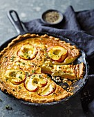 Goat's cheese and nectarine tart with thyme
