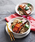 Teriyaki salmon with ginger soba noodles (Japan)