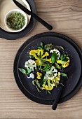 Cauliflower carpaccio with a watercress and almond dressing