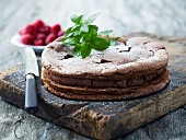 A light chocolate cake with peppermint and raspberries