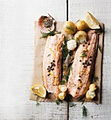 Trout fillets with lemons and capers