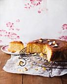 Spelt polenta cake with orange syrup