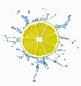 A slice of lemon with a splash of water