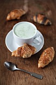 Mini croissants and a matcha latte