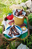 Lamb ribs for an outdoor picnic