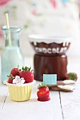 Fresh strawberries and chocolate sauce (ingredients for chocolate fondue)