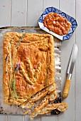 Chicken pie with lavender, sliced (Portugal)