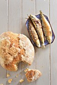 Cornflour bread with smoked sardines (Portugal)