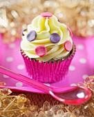A polka dot cupcake