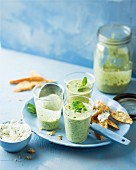 Cold soup with peas, lettuce and yoghurt