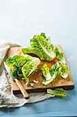 Fresh lettuce on a wooden chopping board